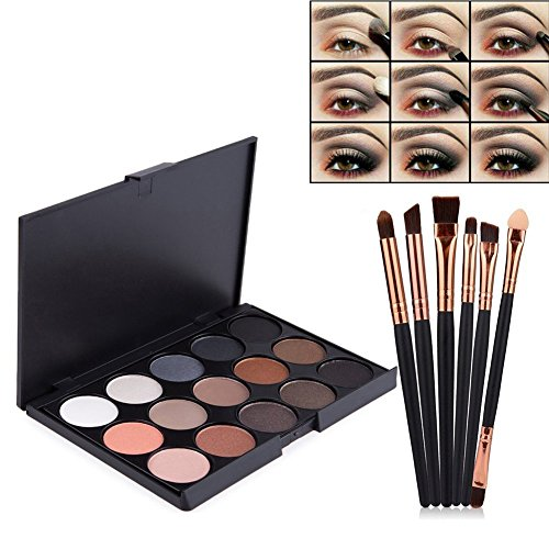 Vodisa Eyeshadow Palette 15 Waterproof Makeup Nature Glow Matte Eye Shadows Kits Professional Make Up Shimmer Eye Shadow Pallets with Eyes Makeup Brushes Set Beauty Cosmetics 15-1 ()