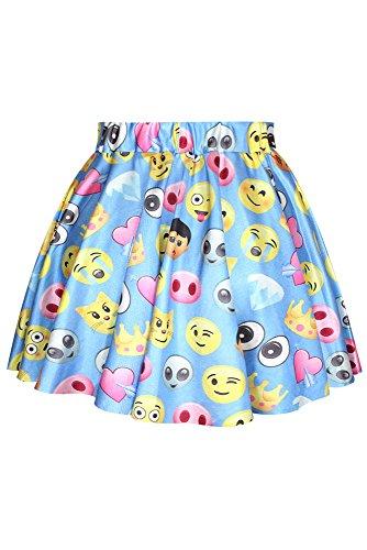 Cfanny Women's Emoji Print Pleated Skirt,Multicoloured,One Size
