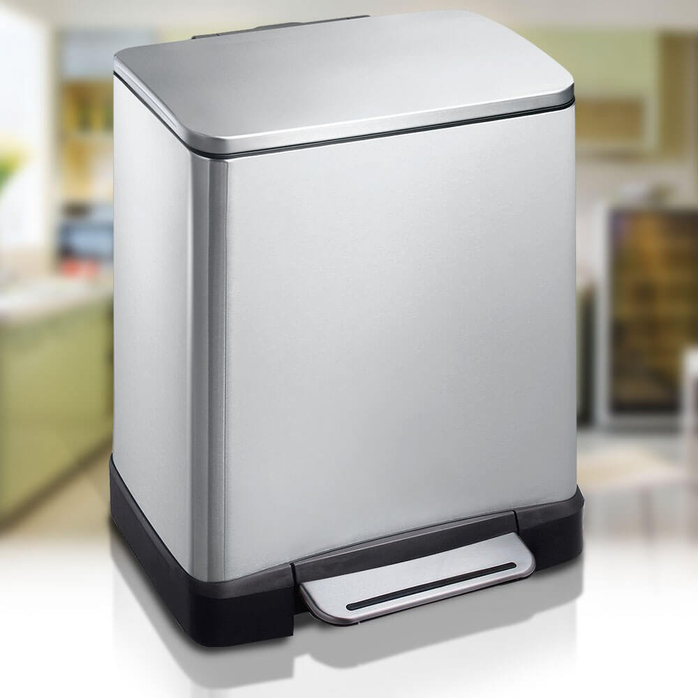 Eko E-Cube Slim Rectangular 10L + 9L Recycler Wastebin with Twin ...