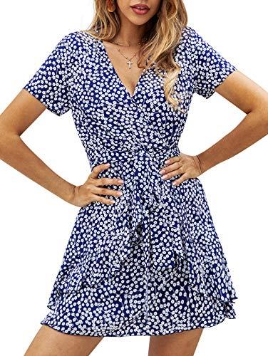 SHIBEVER Summer Sexy Mini Wrap Dresses for Women V Neck Beach Casual Striped Polka Dot Ruffle Hem Pleated Boho Sun Dress Blue-2 M