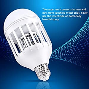 Smarlance Electronic Insect Killer Bug Zapper Light Bulb Mosquito Flying Killer Mosquito Traps Fit 110V LED Light Bulb Socket, for Indoor Home Porch Garden Backyard Lighting and Mosquito Killing