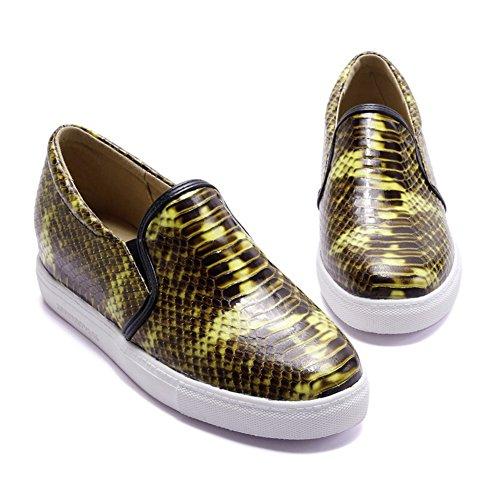 Aisun Womens Cool Snake Platform Slip Elastico Su Sneakers Piatte Gialle