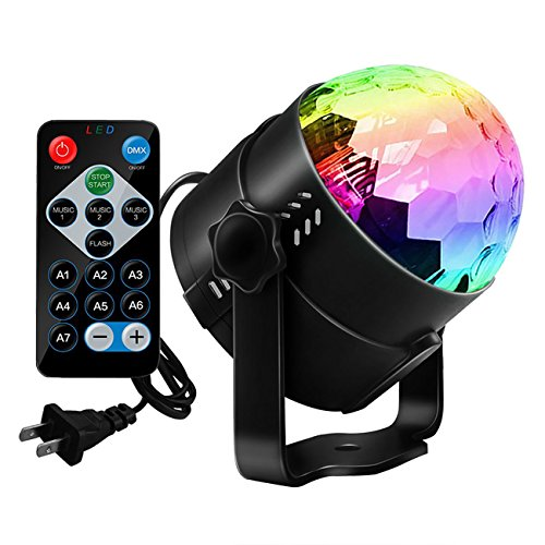 Disco Ball Strobe Light,Sobetter Party Lights Disco Lights Karaoke Machine 3W Dj Light LED Portable 7Colors Sound Activated Stage Lights for Festival Bar Club Party Outdoor and More (with Remote) (Kids Model Furnitures)