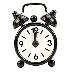 SSXY Mini Cartoon Desk Alarm Clock,Colorful Portable Round Vintage Metal Alarm Clock for Travel Lovely Present Table Decor