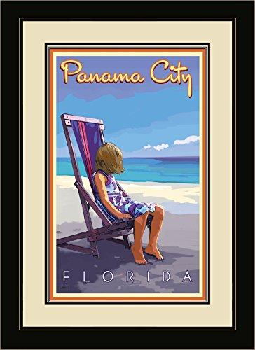 Northwest Art Mall JK-5752 FGDM GBC Panama City Florida Girl Beach Chair Framed Wall Art by Artist Joanne Kollman, 16 x - Beach Panama Mall City