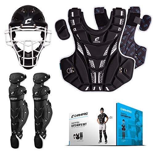 (CHAMPRO Girl's Fastpitch Youth Catcher Set - Hockey-Style Headgear, Chest Protector, Leg Guards (Approx. Ages)