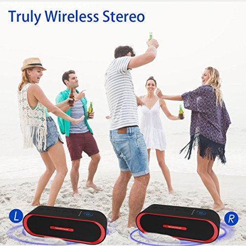 Portable Bluetooth Speaker, 2x8W iPop Outdoor Wireless Speaker 4.2 Powerful Stereo Sound with Awesome Bass and Built-in Mic , Works for iPhone, iPad, Phones, Laptops and More (Red) by Iotton (Image #4)