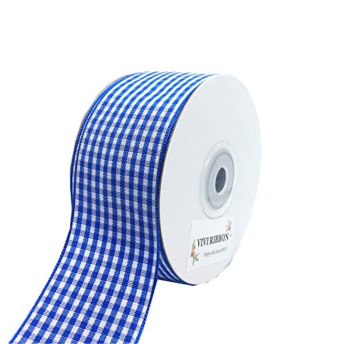 Blue Plaid Ribbon Gingham Ribbon Check Ribbon 1.5 Inch 25 Yard Each Roll 100% Polyester Woven Edge for Crafts, Gift Packing, Wedding Decoration (Blue, ()