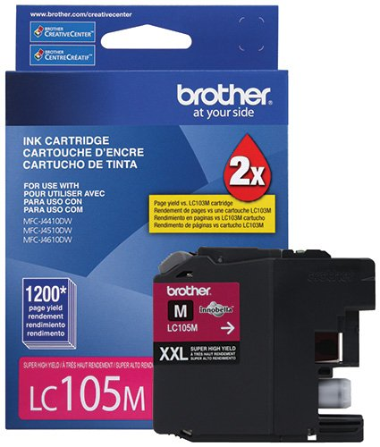 BROTHER INTERNATIONAL CORP LC105M LC105M, LC-105M, Innobella Super High-Yield Ink, 1200 Page-Yield, Magenta by Brother