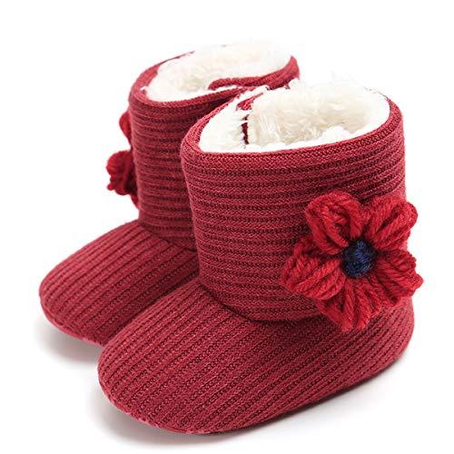 LIVEBOX Newborn Baby Cotton Knit Booties,Premium Soft Sole Flower Anti-Slip Warm Winter Infant Prewalker Toddler Snow Boots Crib Shoes for Girls Boys -