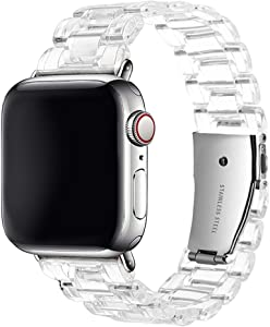 Clear Resin Strap Compatible with Apple Watch Band 38mm 40mm 42mm 44mm with Stainless Steel Buckle, Transparent Replacement Wristband Bracelet for iWatch Series SE/6/5/4/3/2/1 (38mm / 40mm)