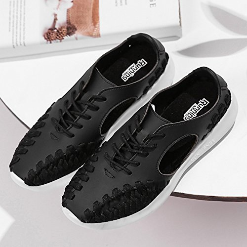 Leather Breathable Women Comfort Tennis Sneakers Shoes Woven Out up Flats Black Lace Work ZYEN Walking zwIxI4