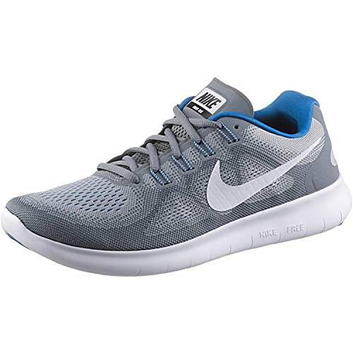 Nike Men's Free RN 2017 Running Shoes (10, Grey/White/Blue-M)