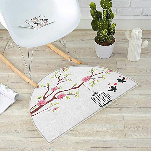 (Birds Half Round Door mats Blossomed Roses and Flying Love Valentines Birds with Hearts and Cage Romance Bathroom Mat H 43.3