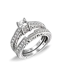 Bling Jewelry 0.75ct Sterling Silver CZ Wedding Engagement Ring Set
