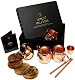 Moscow Mule Mugs Gift Set, 4 Authentic Handcrafted Copper Mugs (16 oz.) with 2 oz. Shot Glass, 4 Straws, 4 Solid Wood Coasters and Recipe Book