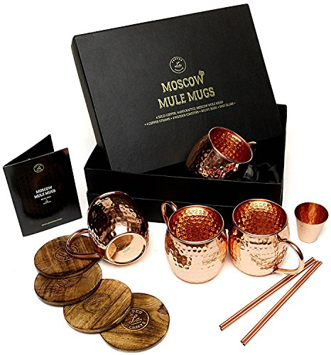 Moscow Mule Copper Mugs Set - 4 Authentic Handcrafted Copper Mugs (16 oz.) with 2 oz. Shot Glass, 4 Straws, 4 Solid Wood Coasters and Recipe Book - Gift Box Included (Best Irish Cocktail Recipes)
