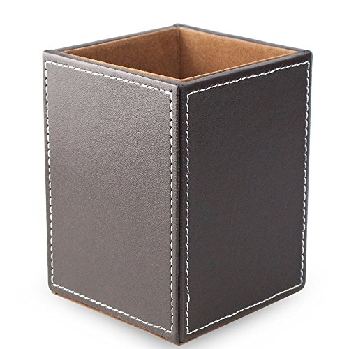 (Wooden Struction PU Leather Square Pens Pencils Holder Desk Organizer Office Supplies Organizer Stationery Desk Accessories Container Box,Brown)