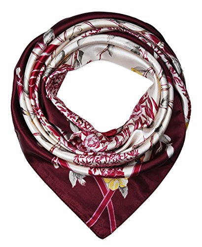 Large Square Satin Silk Like Lightweight Scarfs Hair Sleeping Wraps for Women Burgundy Branches Birds Flowers ()