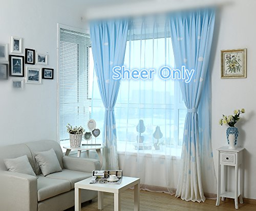 WPKIRA Kids Angels City Printed Rod Pocket Top Tulle Voile Door Window Rom Beautiful Sheer Window Elegance Curtains/drape/panels/treatment For Girls Bedroom , 1 Panel Light Blue W40 by L63 inch