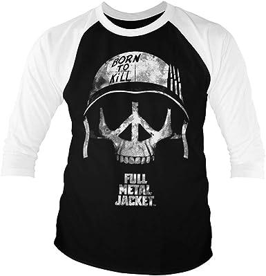 Full Metal Jacket Licenciado Oficialmente Skull Baseball Camisa de Manga 3/4 para Hombre (Negro-Blanco): Amazon.es: Ropa y accesorios