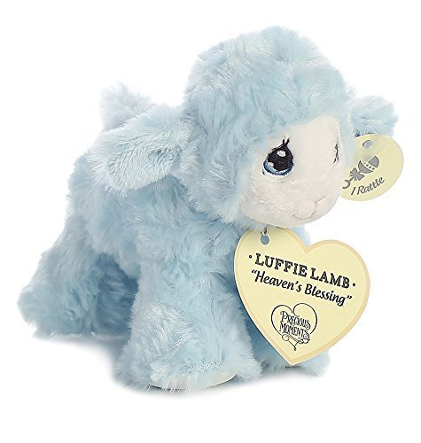 Precious Moments Luffie Lamb Heaven's Blessings Baby Rattle - Blue