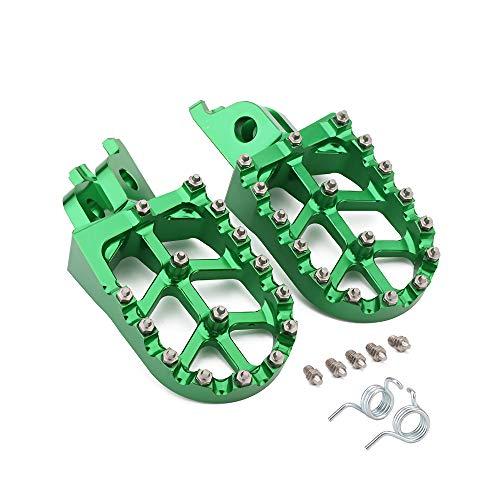 - Billet MX Wide Foot Pegs Footpegs Foot Pedals Rests - Kawasaki KX250F 2006-2016 KX450F 2007-2017 KLX450R 2008-2013 - Green