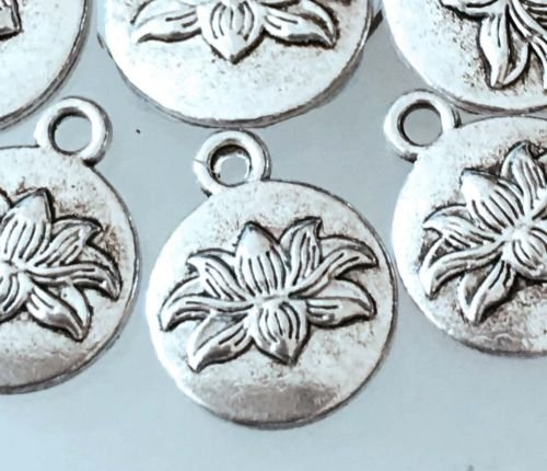 Wholesale Water Lilies - 10 Lotus Flower Charms Antique Silver Pewter Water Lily Charm Yoga 16x13mmJewelry Making Supply Charms Wholesale by Wholesale Charms