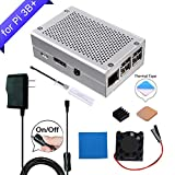 GeeekPi Raspberry Pi 3 B+ Case Aluminum Case Silver Metal Case Enclosure with Raspberry Pi Heatsink Fan 5V 2.5A US Power Supply for Raspberry Pi 3 B+ & Raspberry Pi 3/2 Model B