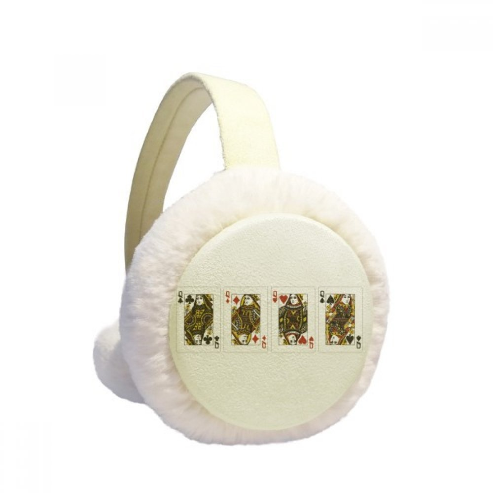 Heart Spade Diamond Club Q Pattern Winter Earmuffs Ear Warmers Faux Fur Foldable Plush Outdoor Gift