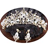 Crystal Rhinestone Flower Headband Comb Pin Bride Tiara Crown for Wedding Bridal