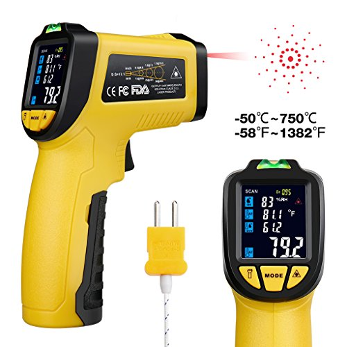 URCERI Infrared Thermometer -58°F~1382°F (-50°C~750°C) Digital IR Temperature Gun Non Contact Laser with Color Display K-Type Thermocouple for Cooking Kitchen Food Meat Grill (Adjustable Thermocouple)