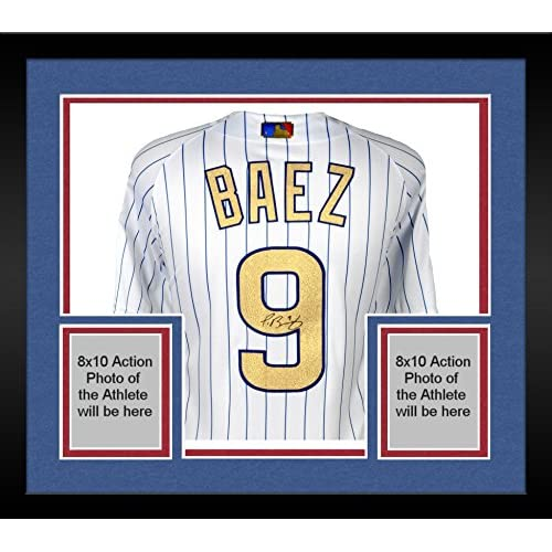 brand new da8d5 979ca outlet Framed Javier Baez Chicago Cubs Autographed Majestic ...