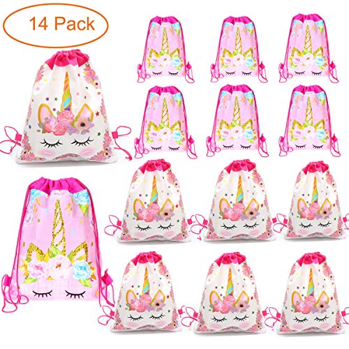 14 Pack Unicorn Drawstring Party Bag, Party Favor Gift Bags Birthday Party Supplies Favor Bag for kids Children Girls Baby Shower ()