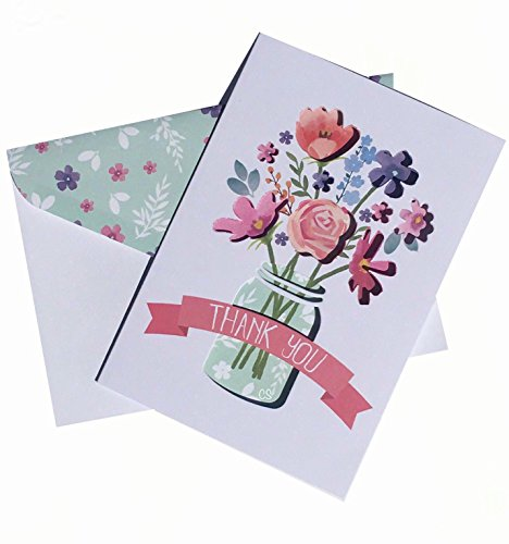 Punch Studio Window Boxed Set of 12 Blank Note Cards ~ Mason Jar Bouquet 15729