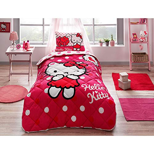 Hello Kitty Single - LoveForHome Hello Kitty Single/Twin Comforter Set,3-Piece,Red,Girl