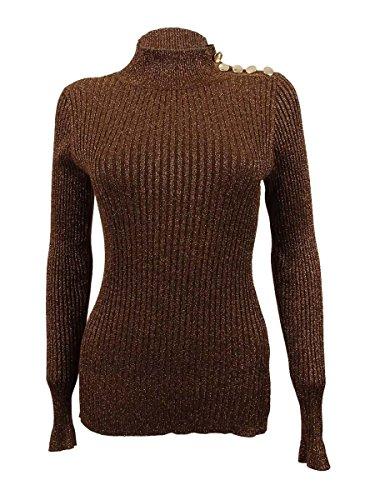 INC Womens Ribbed Knit Metallic Mock Turtleneck Sweater Bronze M (Metallic Knit Turtleneck)