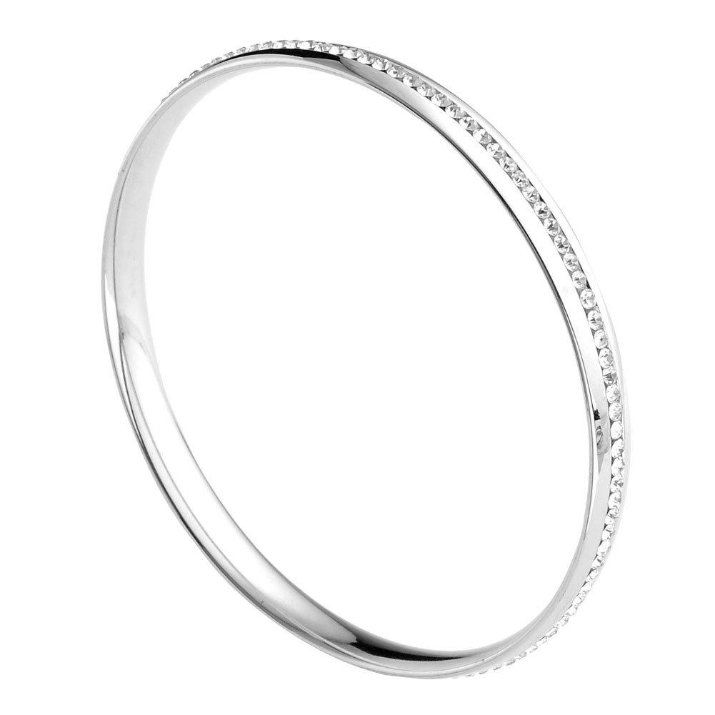 Zysta Élégant Bracelet Fin Jonc en Acier Inoxydable avec Zirconium Blanc Idée Cadeau pour Femme Homme