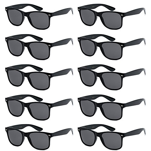 WHOLESALE UNISEX 80'S STYLE RETRO BULK LOT SUNGLASSES (Gloss Black, Smoke)