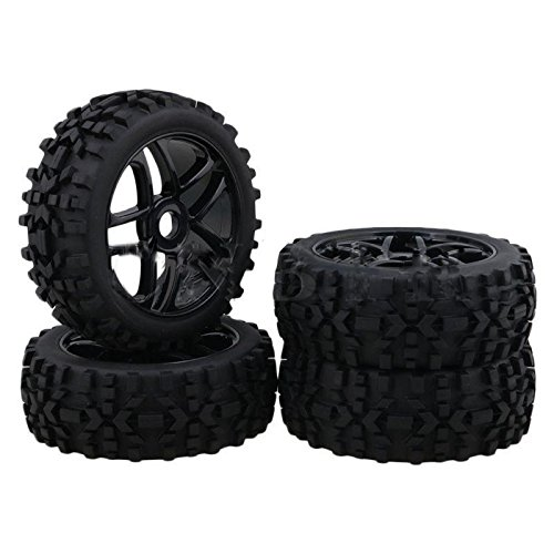 Hobbypower 4pcs 17mm Hub Wheel Rim & Tires Tyre OD-118mm for 1/8 Off-Road RC Buggy Truck 1/8 Off Road Truck