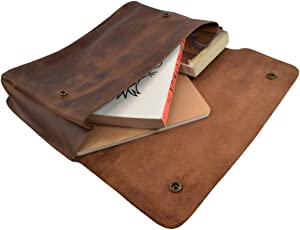 Hide & Drink, Vintage Leather Folder Document Holder/File Case/Document Portfolio, Office & Work Essentials Handmade Includes 101 Year Warranty :: Bourbon Brown