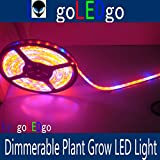 goLEDgo LED Plant Grow Light Strip 16FT 5M 300 LEDS(5050 SMD Waterproof)(+ Free Shipping) R/B 5:1 DC12V, gift Power supply and finisehd DC head. Original design and Produced by goLEDgo strip 01
