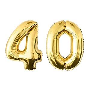 NUOLUX 52.49 pulgadas de oro de la hoja de globo, globo Jumbo número 40 para el festival de cumpleaños Aniversario de las decoraciones de la fiesta ...