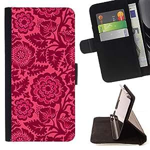 Momo Phone Case / Flip Funda de Cuero Case Cover - Floral pétalos rosados ??Wallpaper Vintage - LG G4 Stylus H540