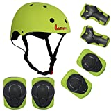 LANOVAGEAR Kids Child Adjustable Cycling Bicycle Protective Gear Set 7pcs Toddler Helmet Elbow Knee Wrist Pads for Multi Sports Skateboarding Rollerblading Bike (Green, Small)