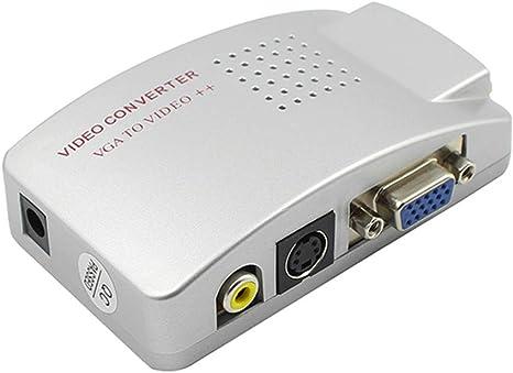 12shage PC VGA para TV Composite Video RGB | Convertidor de PC, VGA a TV Video Compuesto RGB conéctelo a PC/Laptop y TV: Amazon.es: Deportes y aire libre