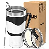 Atlin Tumbler [30 oz. Double Wall Stainless Steel Vacuum Insulation] - White Travel Mug [Crystal Clear Lid] Water Coffee Cup [Straw + Handle Included]For Home, Office, School, Ice Drink, Hot Beverage