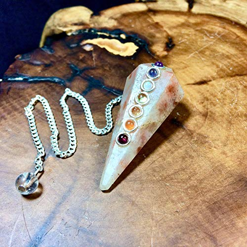 Jet Sunstone Chakra Pendulum Faceted Cone Shaped Top Quality A++ Jet International Crystal Therapy Image is JUST A Reference