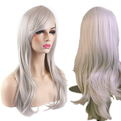 "AKStore Fashion Wigs 28"" 70cm Long Wavy Curly Hair Heat Resistant Wig Cosplay Wig For Women With Free Wig Cap (Light Grey)"