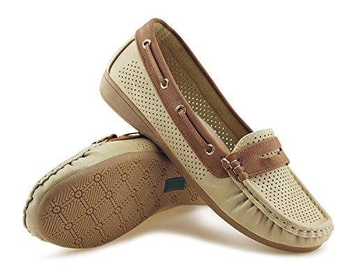 Jabasic Lady Comfort Slip-on Loafers Hollow Driving Flat Shoes(7.5,Beige) by Jabasic (Image #5)